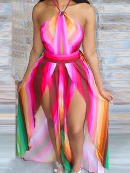 Tie Dye High Split Sleeveless Maxi Dress
