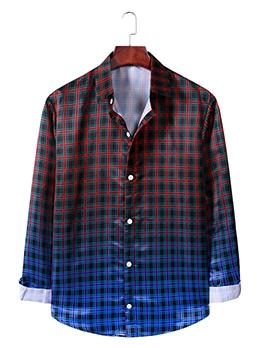 Gradient Color Plaid Button Down Shirt