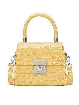 Alligator Print Solid Color Shoulder Bag With Handle