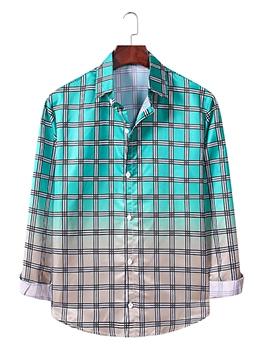 Turndown Collar Gradient Plaid Button Up Shirt