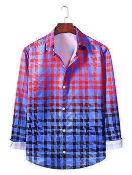 Trendy Gradient Plaid Button Up Shirts For Men