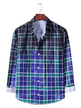 Hip-hop Button Up Gradient Plaid Shirts For Men