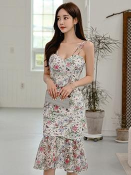 Summer Mermaid Design Floral Ladies Dress