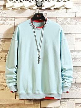 Contrast Color Long Sleeve Casual Crewneck Sweatshirt