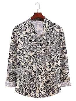 Stand Collar Long Sleeve Printed Casual Shirts