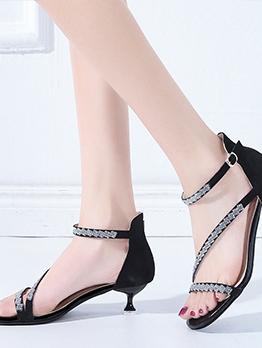 Fashion Rhinestone Mid Heel Designer Sandals