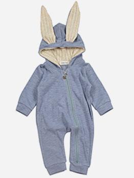 Cute Rabbit Ear Zipper Solid Baby Sleepsuits