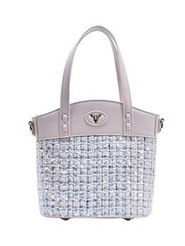 Contrast Color Patchwork Shoulder Bag With Handle