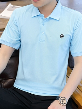 Mushroom Embroidery Short Sleeve Polo T Shirts
