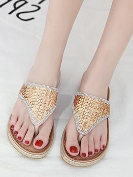 Chic Rhinestone Slip Flip Flop Slippers
