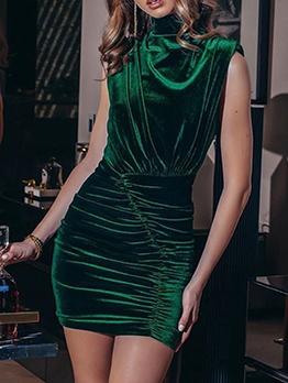 Pleuche Solid Stand Collar Draped Ladies Dress