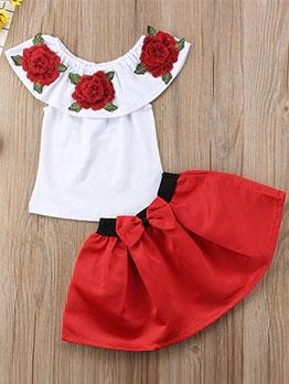 Flower Pattern Bow Knot Skirt Girls Clothing Set