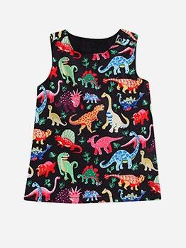 Summer Dinosaur Pattern Sleeveless Girls Casual Dress