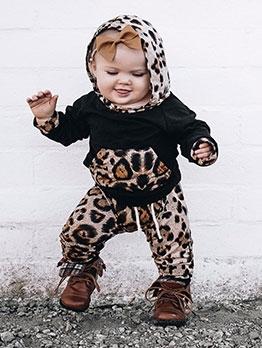 Leopard Long Sleeve Hoodie Baby Suit Set