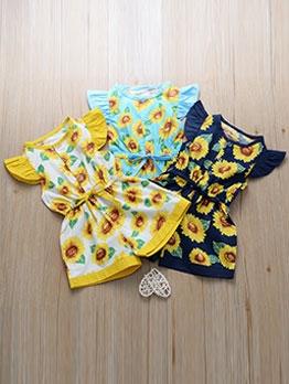 Sweet Sunflower Printed Tie-Wrap Baby Girl Rompers