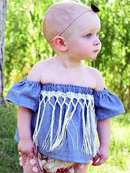 Summer Tassel Off Shoulder Baby Girls Top