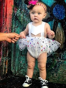Sweet Gauze Sequined Tie-Wrap Baby Girl Rompers
