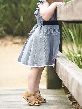 Summer Plaid Tie-Wrap Sleeveless Girls Casual Dress
