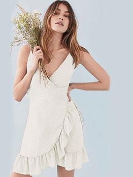 V Neck Dots Ruffled Edge Tie-Wrap Camisole Dress