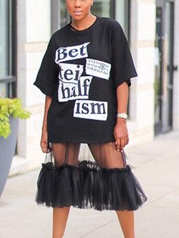 Gauze Patchwork Letter Short Sleeve Midi Dress