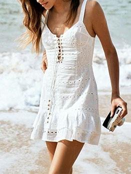 Sweet Ruffled Edge Tie-Wrap Sleeveless Dress