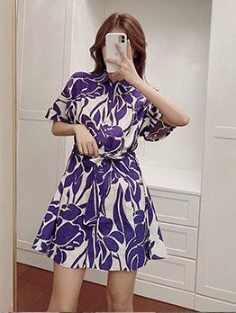 Printed Tie-Wrap Short Sleeve Dresses For Women