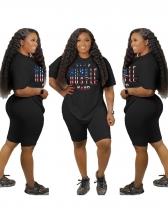 Casual Wear Letter Women Two Piece Shorts Set