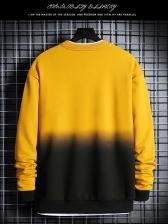 Contrast Color Long Sleeve Mens Crewneck Sweatshirt