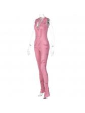 V Neck Printed Sleeveless Sports Skinny Jumpsuit