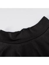 Mock Neck Contrast Color Split Hem Skinny Jumpsuit