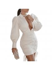 Sexy Draped Long Sleeve Bodycon Dress