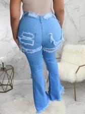 Versatile Ripped Women Flare Jeans