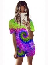 Plus Size Tie Dye Two Piece Shorts Set