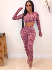 Mock Neck Cropped Top Women Trouser Set
