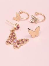 Butterfly Rhinestone Women Earrings Combination Set