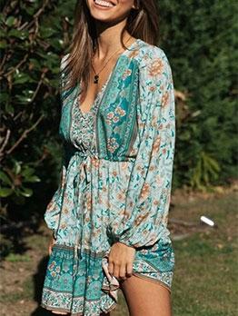 Printed V Neck Long Sleeve Dresses For Women