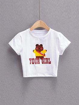 Fashion Bear Pattern Short Sleeve Cropped Top
