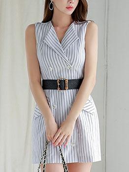 Elegant Striped Women Fitted Blazer Dress