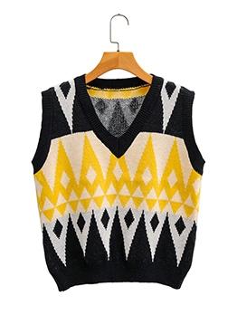Geometric Pattern V Neck Autumn Knitted Vest