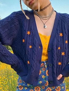 Stylish Embroidery v Neck Women Cardigan