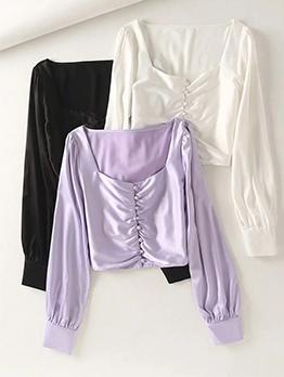 Square Neck Simple Solid Color Ladies Blouse