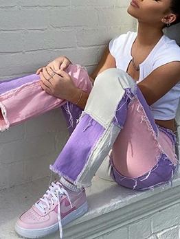 High Waist Contrast Color Patchwork Denim Pants