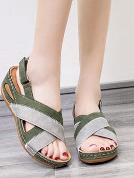 Euro Round Toe Women Wedge Sandals