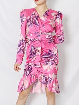 Boutique Puff Sleeve Floral Pink Ruffled Women Dress
