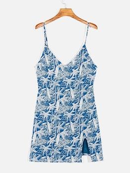 Fashion V Neck Printed Split Camisole Dress