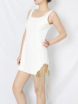 Elegant Rhinestone Tassel Design Sleeveless Dress
