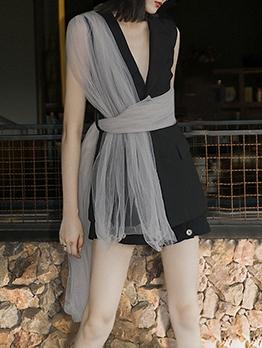 Black Sleeveless Blazer Dress With Gauze Belt