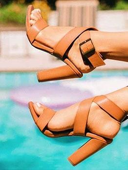 Roman Style Strappy Chunky Heel Sandal
