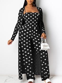 Polka Dots Cami Top Wide Leg Jumpsuit With Long Coat