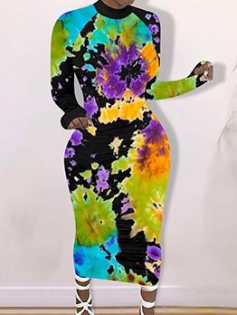 Full Print Crew Neck Long Sleeve Maxi Dress